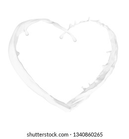 heart from splash isolated on white background. Love milk concept
