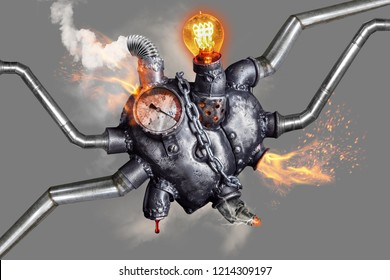 Heart of steel made in steam punk style. Manometer shows critical pressure.