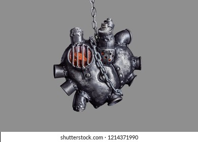 Heart of steel made in steam punk style. Isolated on grey background.