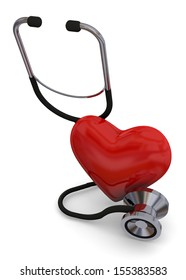 HEART AND STETHOSCOPE - 3D