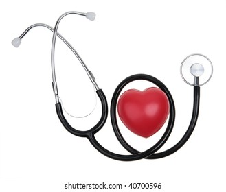 heart and stethoscope isolated on white with clipping path