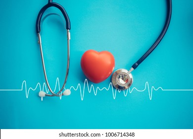 Heart and stethoscope,Heartbeat Line,Healthcare concept.