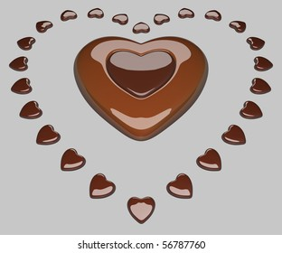 Heart surrounded by small hearts