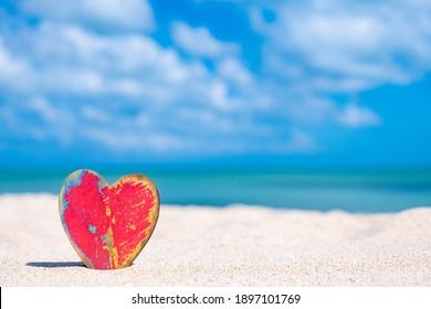 Heart symbol and blue sea