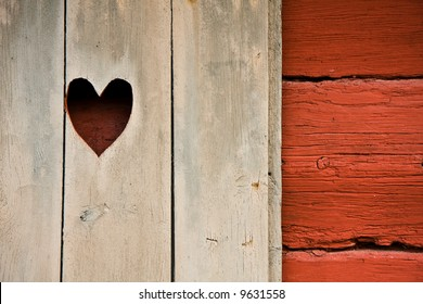 Heart symbol in a cottage's shutter
