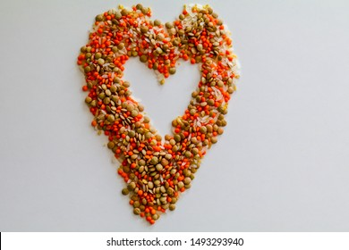 Heart symbol with lentil, rice