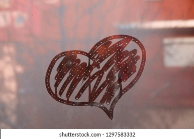 Heart symbol of love on glass , Valentine's day