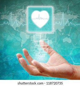 Heart Symbol on hand, medical background