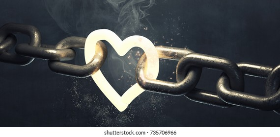 Heart symbol on the steel chain. High resolution 3d