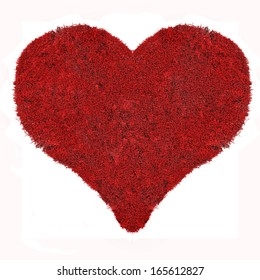 heart symbol from red moss isolated on white background