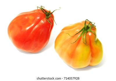 heart tomatoes on white background