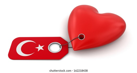Heart with Turkish flag (clipping path included)