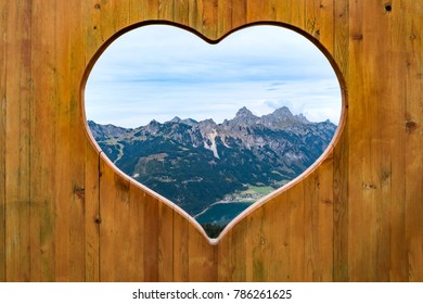 Heart view into the Tannheimer valley, Austria, Europe