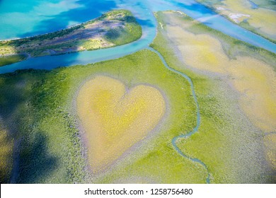 Heart of Voh, aerial view, formation of mangroves vegetation resembles a heart seen from above, New Caledonia, Melanesia, South Pacific Ocean. Heart of Earth. Earth day. Love life, save environment.