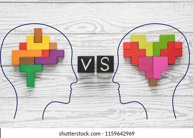 Heart vs Mind. Heart versus brain. Concept of mind against love. Heads of two people with colourful shapes of abstract brain and heart.