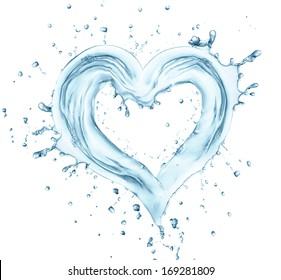 Heart from water splash with bubbles, love symbol. isolated on white background