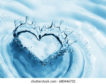 Heart from water splash with bubbles on blue water background. 3d rendering