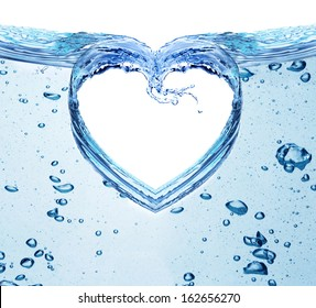 Heart from water splash isolated on white. Valentines day concept.