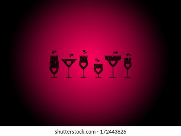 Heart and wine glass shaped background for St. Valentine's Day