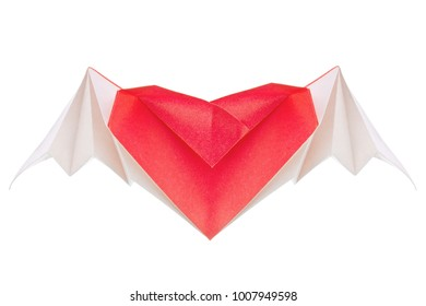 Heart with wings oforigami, isolated on white background.