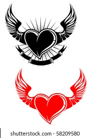Heart with wings tattoo symbol. Vector version also available