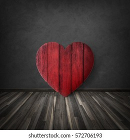 Heart wood on black wall mack up for valentineâ??s day