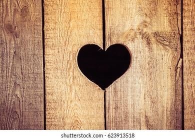 Heart in a wooden board