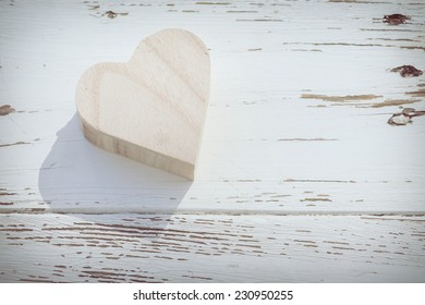 heart wooden box on white wood background