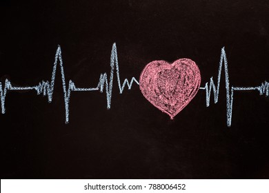 Heartbeat captured on cardiograph. Frequency, Wave Heart