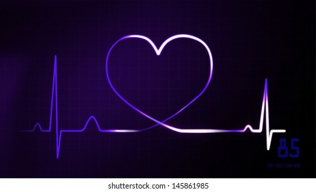 heartbeat graphic of EKG monitor represent of love