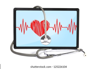 heartbeat on screen touchpad and stethoscope