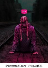 Heartbroken girl with a heartbroken emoji
