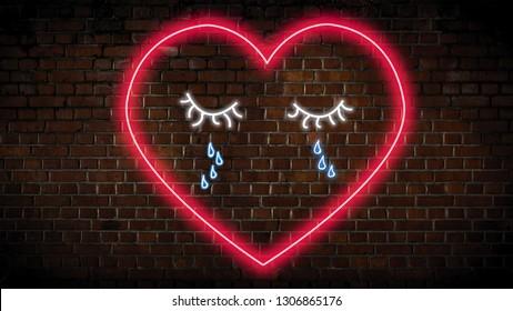Heartbroken heart neon sign