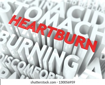Heartburn Concept. The Word of Red Color Located over Text of White Color.