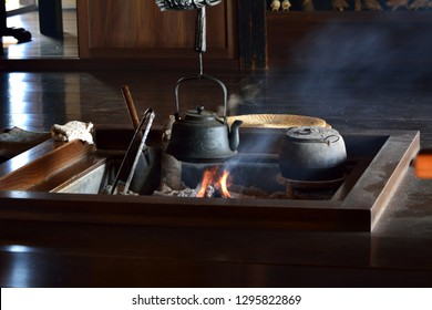 The hearth or fireside at japanese old traditional house