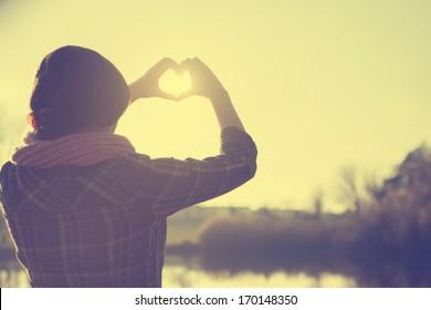 Hearth symbol in sunset