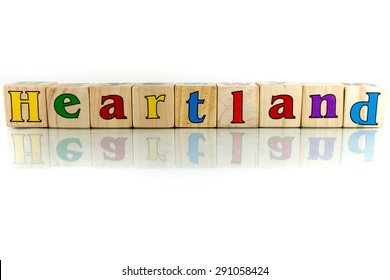 heartland colorful wooden word block on the white background