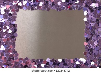 Hearts confetti on gray background