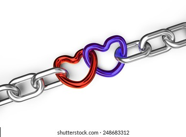 hearts connected chain isolated on white background