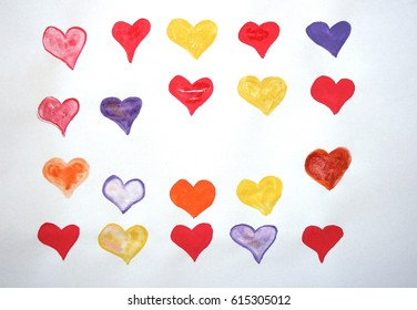 Hearts in different colors. Watercolor.