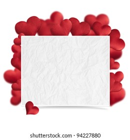 Hearts of fabric, Valentines day card.
