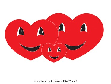 Hearts - family symbol, are smiling and happy together.