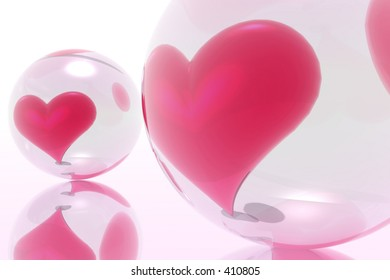 Hearts illustrated on the glass ball. Transparency for trust.