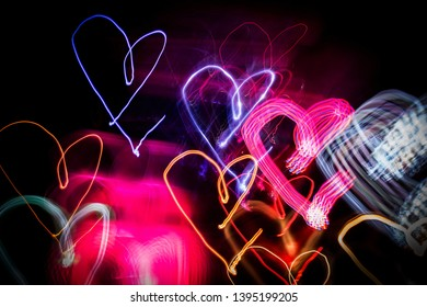 hearts light painting in different colors
