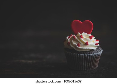 Hearts on the cupcake,selective focus and valentines day concept