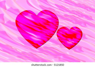 Hearts on pink psychedelic background