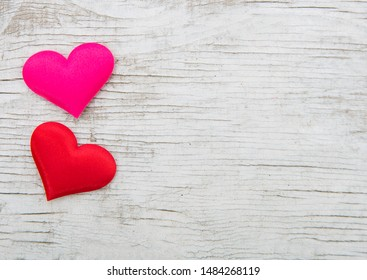 Hearts On White Wood Background - Valentines Day Concept