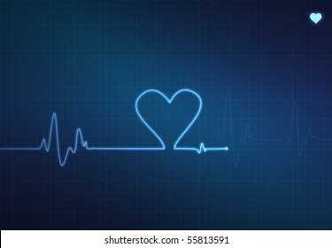 Heart-shaped blip on a medical heart monitor (electrocardiogram) with blue background and heart symbol