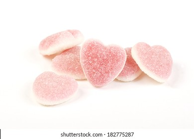 heart-shaped candies isolated on white background