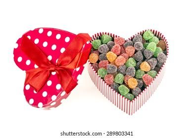 Heart-shaped candy box